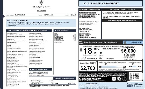 New 2021 Maserati Levante S Q4 GranSport for sale $104,835 at Alfa Romeo of Greenwich in Greenwich CT 06830 2