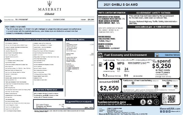 New 2021 Maserati Ghibli S Q4 for sale $86,954 at Alfa Romeo of Greenwich in Greenwich CT 06830 2