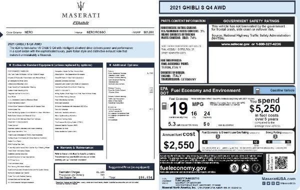 New 2021 Maserati Ghibli S Q4 for sale $86,654 at Alfa Romeo of Greenwich in Greenwich CT 06830 27