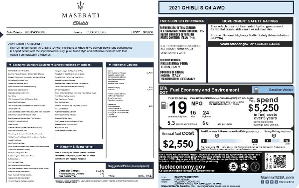 New 2021 Maserati Ghibli S Q4 for sale $86,954 at Alfa Romeo of Greenwich in Greenwich CT 06830 28