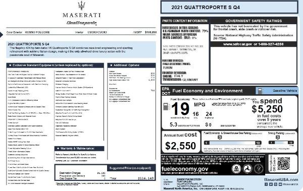 New 2021 Maserati Quattroporte S Q4 for sale $114,149 at Alfa Romeo of Greenwich in Greenwich CT 06830 26
