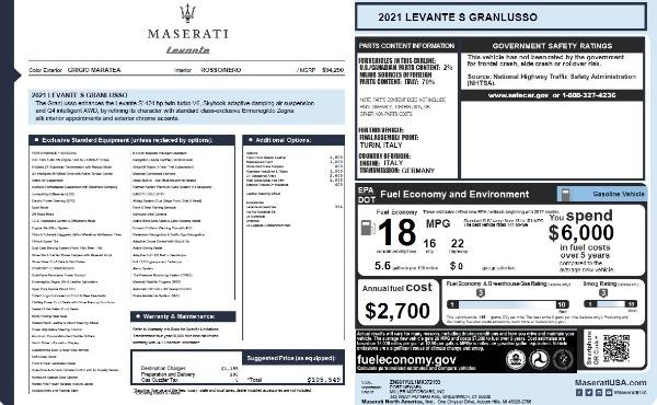 New 2021 Maserati Levante S Q4 GranLusso for sale $105,549 at Alfa Romeo of Greenwich in Greenwich CT 06830 27