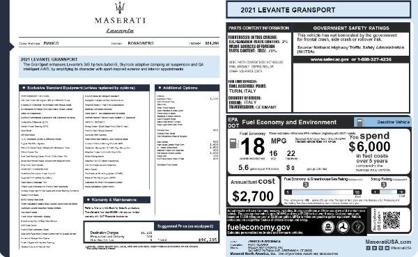 New 2021 Maserati Levante Q4 GranSport for sale $96,235 at Alfa Romeo of Greenwich in Greenwich CT 06830 26