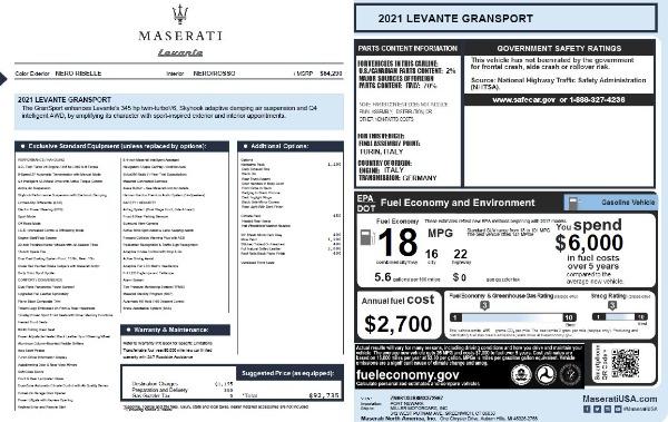 New 2021 Maserati Levante Q4 GranSport for sale $92,735 at Alfa Romeo of Greenwich in Greenwich CT 06830 28