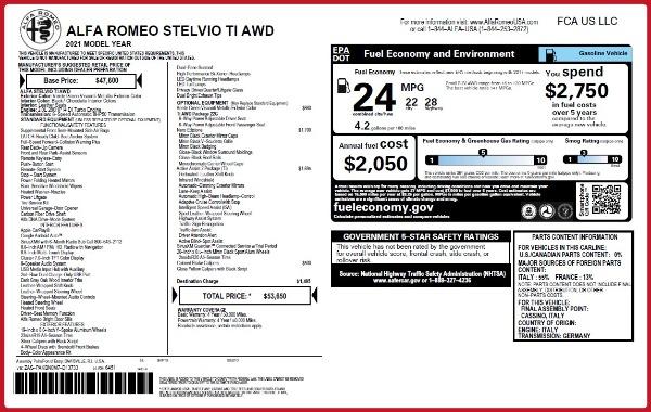New 2021 Alfa Romeo Stelvio Ti Q4 for sale $53,650 at Alfa Romeo of Greenwich in Greenwich CT 06830 26