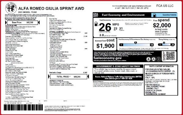 New 2021 Alfa Romeo Giulia Q4 for sale $48,245 at Alfa Romeo of Greenwich in Greenwich CT 06830 2