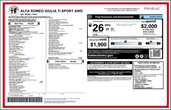 New 2021 Alfa Romeo Giulia Ti Sport for sale $54,050 at Alfa Romeo of Greenwich in Greenwich CT 06830 27