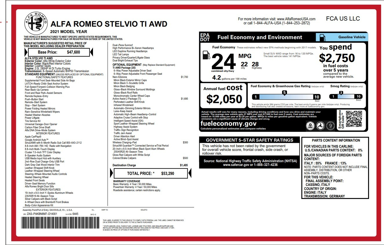New 2021 Alfa Romeo Stelvio Ti for sale Sold at Alfa Romeo of Greenwich in Greenwich CT 06830 1