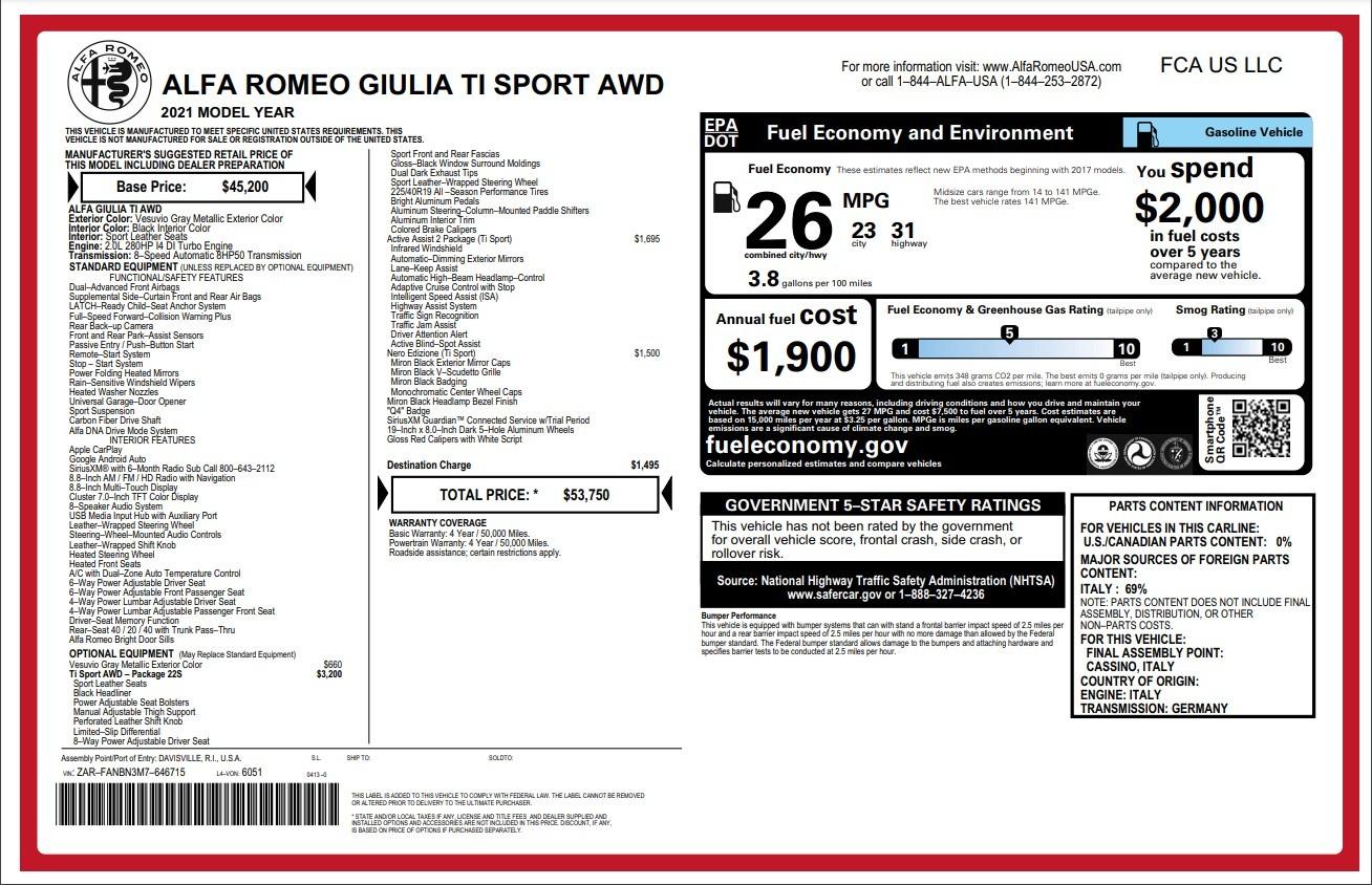 New 2021 Alfa Romeo Giulia Ti Sport for sale $53,750 at Alfa Romeo of Greenwich in Greenwich CT 06830 1