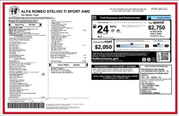 New 2021 Alfa Romeo Stelvio Ti Sport for sale $59,550 at Alfa Romeo of Greenwich in Greenwich CT 06830 2