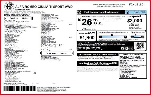 New 2021 Alfa Romeo Giulia Ti Sport Q4 for sale Sold at Alfa Romeo of Greenwich in Greenwich CT 06830 26