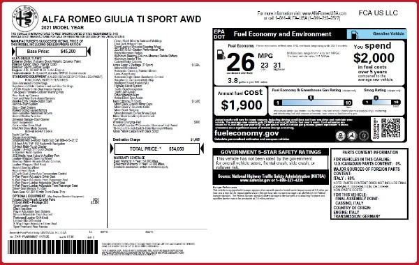 New 2021 Alfa Romeo Giulia Ti Sport Q4 for sale $54,050 at Alfa Romeo of Greenwich in Greenwich CT 06830 2