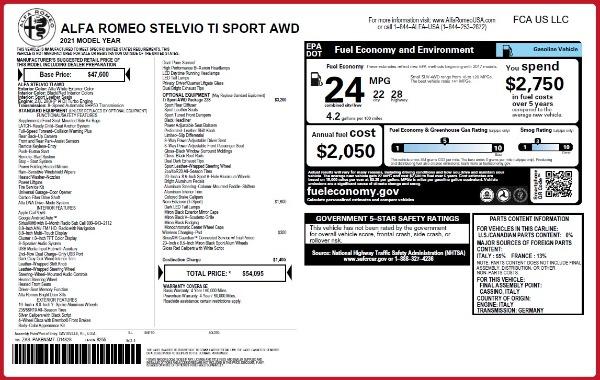 New 2021 Alfa Romeo Stelvio Ti Sport Q4 for sale $54,095 at Alfa Romeo of Greenwich in Greenwich CT 06830 28