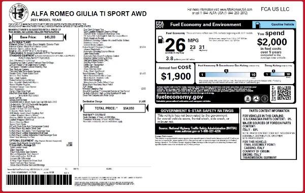 New 2021 Alfa Romeo Giulia Ti Sport Q4 for sale $54,050 at Alfa Romeo of Greenwich in Greenwich CT 06830 25