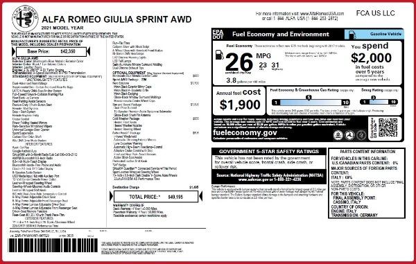 New 2021 Alfa Romeo Giulia Q4 for sale $49,195 at Alfa Romeo of Greenwich in Greenwich CT 06830 2