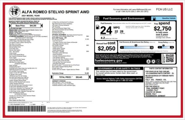 New 2021 Alfa Romeo Stelvio Q4 for sale $50,445 at Alfa Romeo of Greenwich in Greenwich CT 06830 22