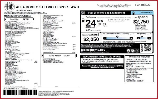New 2021 Alfa Romeo Stelvio Ti Sport Q4 for sale $60,000 at Alfa Romeo of Greenwich in Greenwich CT 06830 2