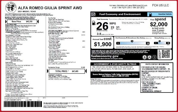 New 2021 Alfa Romeo Giulia Q4 for sale Call for price at Alfa Romeo of Greenwich in Greenwich CT 06830 23