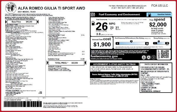 New 2021 Alfa Romeo Giulia Ti Sport Q4 for sale $53,050 at Alfa Romeo of Greenwich in Greenwich CT 06830 22