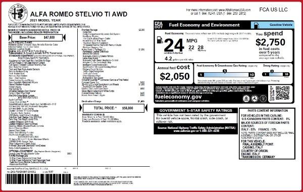 New 2021 Alfa Romeo Stelvio Ti Q4 for sale $56,800 at Alfa Romeo of Greenwich in Greenwich CT 06830 2
