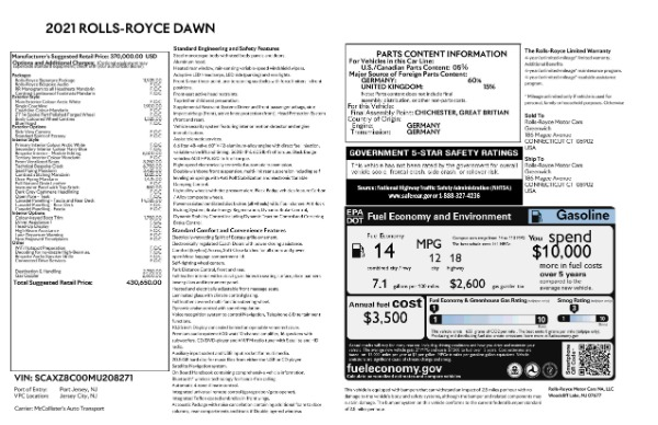 New 2021 Rolls-Royce Dawn for sale Sold at Alfa Romeo of Greenwich in Greenwich CT 06830 9