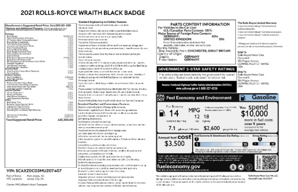 New 2021 Rolls-Royce Wraith Black Badge for sale Call for price at Alfa Romeo of Greenwich in Greenwich CT 06830 9