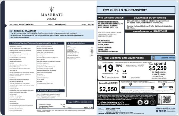 New 2021 Maserati Ghibli S Q4 GranSport for sale $100,635 at Alfa Romeo of Greenwich in Greenwich CT 06830 20