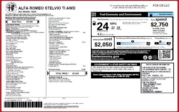 New 2021 Alfa Romeo Stelvio Ti Q4 for sale $51,900 at Alfa Romeo of Greenwich in Greenwich CT 06830 2