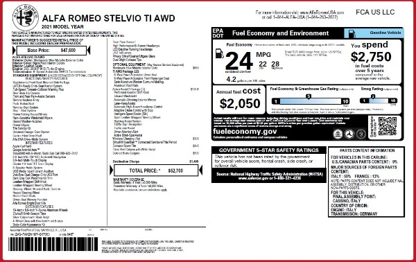 New 2021 Alfa Romeo Stelvio Ti Q4 for sale $52,700 at Alfa Romeo of Greenwich in Greenwich CT 06830 2