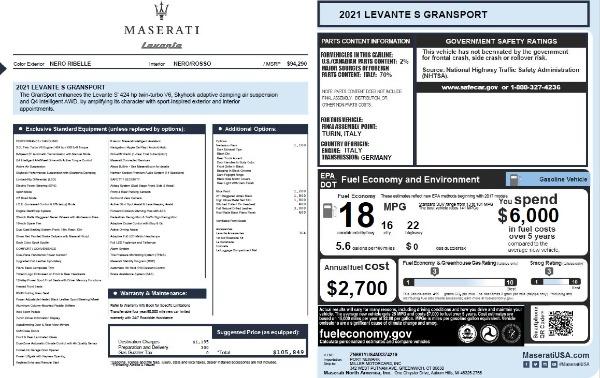 New 2021 Maserati Levante S Q4 GranSport for sale $105,849 at Alfa Romeo of Greenwich in Greenwich CT 06830 2