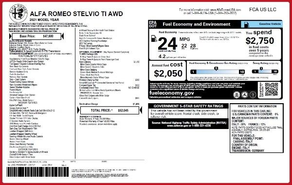 New 2021 Alfa Romeo Stelvio Ti Q4 for sale $52,045 at Alfa Romeo of Greenwich in Greenwich CT 06830 2