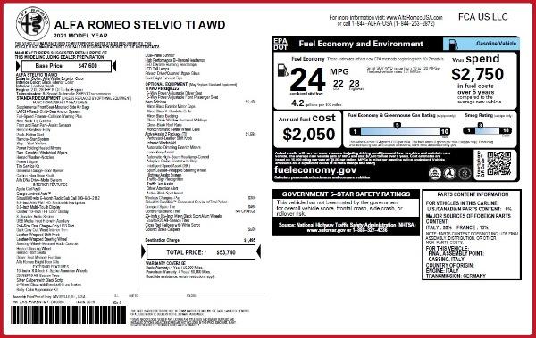 New 2021 Alfa Romeo Stelvio Ti Q4 for sale $53,740 at Alfa Romeo of Greenwich in Greenwich CT 06830 2