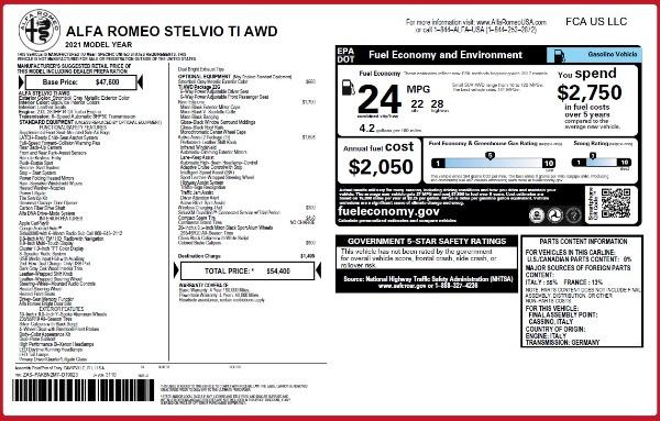 New 2021 Alfa Romeo Stelvio Ti Q4 for sale $54,400 at Alfa Romeo of Greenwich in Greenwich CT 06830 26