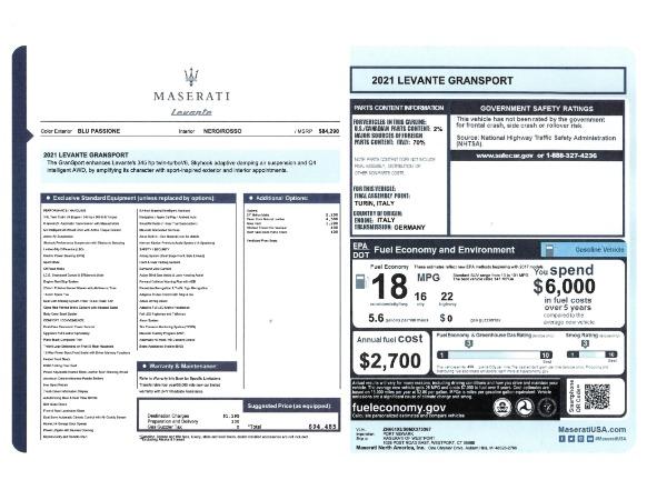 New 2021 Maserati Levante GranSport for sale Call for price at Alfa Romeo of Greenwich in Greenwich CT 06830 23