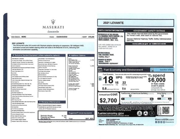 New 2021 Maserati Levante for sale $87,625 at Alfa Romeo of Greenwich in Greenwich CT 06830 2