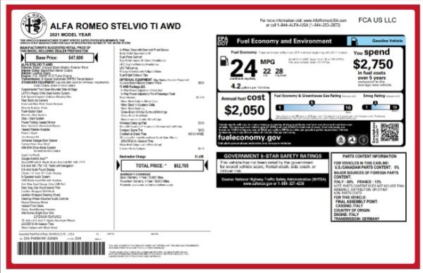New 2021 Alfa Romeo Stelvio Ti for sale $52,705 at Alfa Romeo of Greenwich in Greenwich CT 06830 2