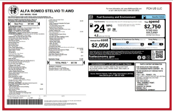 New 2021 Alfa Romeo Stelvio Ti for sale $57,750 at Alfa Romeo of Greenwich in Greenwich CT 06830 2