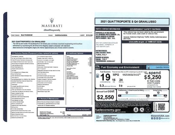 New 2021 Maserati Quattroporte S Q4 GranLusso for sale $126,149 at Alfa Romeo of Greenwich in Greenwich CT 06830 24