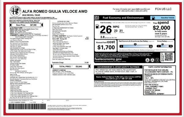 New 2022 Alfa Romeo Giulia Veloce for sale $52,845 at Alfa Romeo of Greenwich in Greenwich CT 06830 24