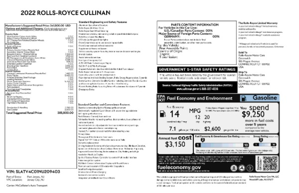 New 2022 Rolls-Royce Cullinan for sale Call for price at Alfa Romeo of Greenwich in Greenwich CT 06830 9