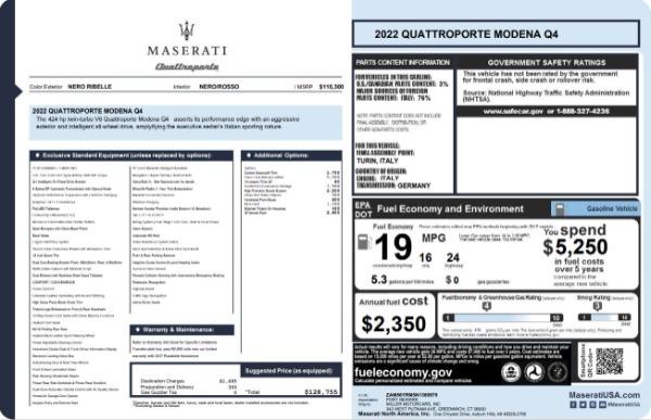 New 2022 Maserati Quattroporte Modena Q4 for sale $128,775 at Alfa Romeo of Greenwich in Greenwich CT 06830 23