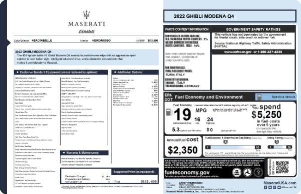 New 2022 Maserati Ghibli Modena Q4 for sale $103,855 at Alfa Romeo of Greenwich in Greenwich CT 06830 19