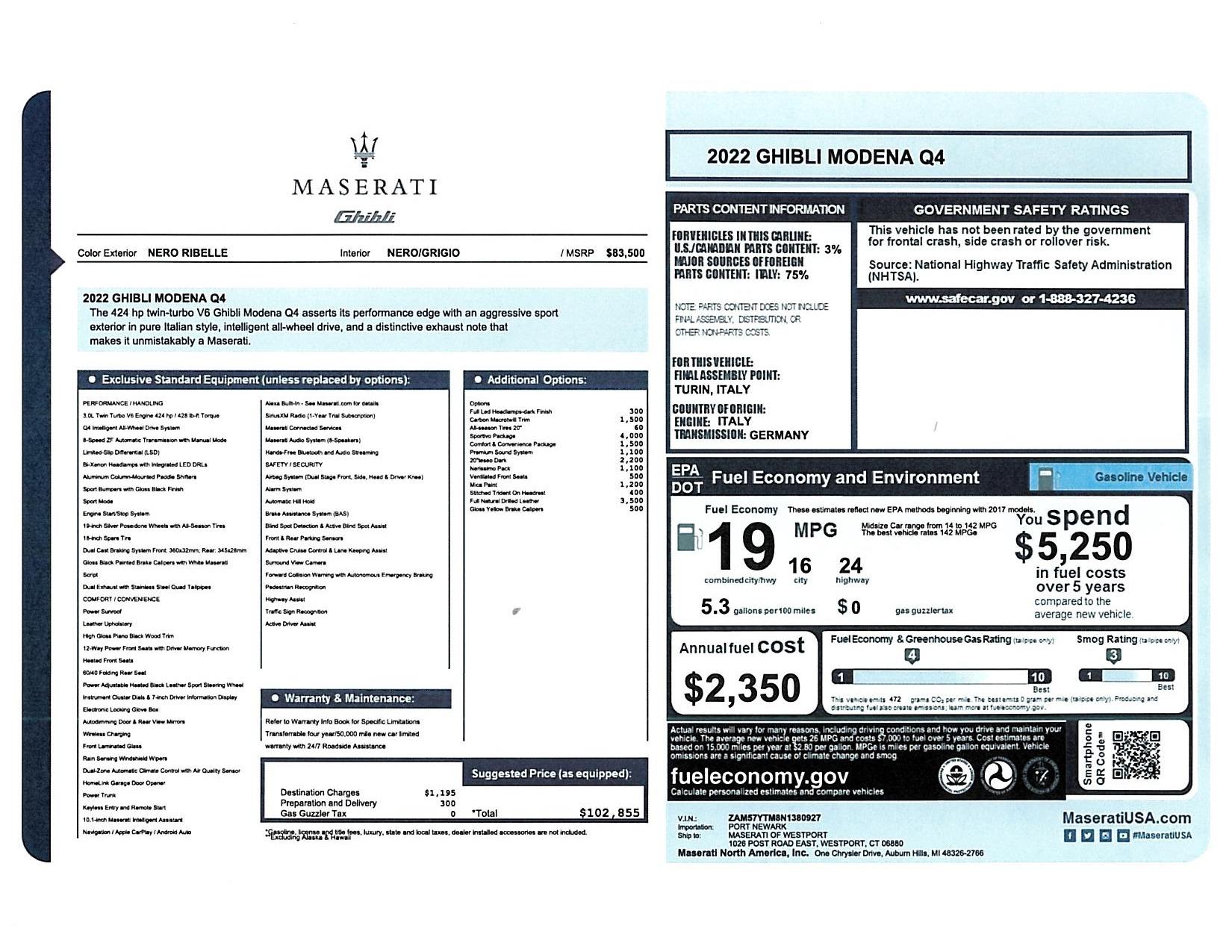 New 2022 Maserati Ghibli Modena Q4 for sale $102,855 at Alfa Romeo of Greenwich in Greenwich CT 06830 1
