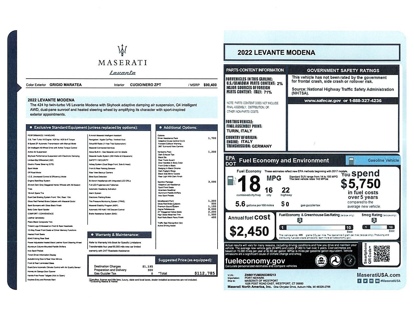 New 2022 Maserati Levante Modena for sale $112,785 at Alfa Romeo of Greenwich in Greenwich CT 06830 1